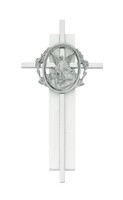 "(73-61) 6"" SILVER CROSS ON WHITE WOOD"