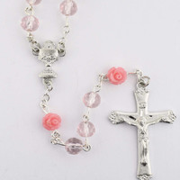 (R781W) PINK CRYSTAL AND FLOWER ROSARY
