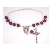 (AR99C) DIVINE MERCY RED AUTO ROSARY
