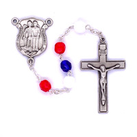 (R787F) RED,WHITE & BLUE POLICE ROSARY
