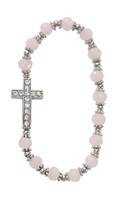 (BR855W) PINK STONE CROSS STRETCH BRACE