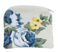 (RP17) BLUE FLORAL ROSARY POUCH