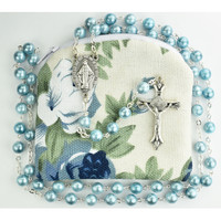 (P405RP) BLUE SWIRL ROSARY W/POUCH