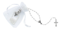 (P563RP) WHITE BAG,ROSARY AND PIN SET