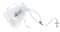 (P563RP) WHITE BAG,ROSARY AND PIN SET