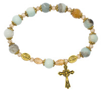 (BR152) AMAZONITE ANTIQUE GOLD RSRY BR