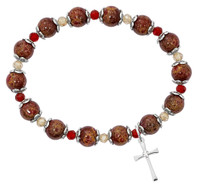 (BR342) RED MARBLE CROSS STRETCH BRAC