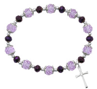 (BR265) PURPLE CRYSTAL CROSS STRETCH