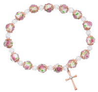 (BR199) ROSE GOLD FLOWER CROSS STRETCH