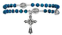 (B1004C) BLUE CRYSTAL TWISTABLE  ROSARY