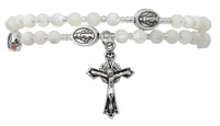 (B1001C) MOTHER OF PEARL TWIST ROSARY