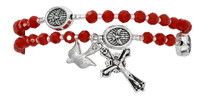 (B1005C) RED CRYSTAL TWISTABLE  ROSARY