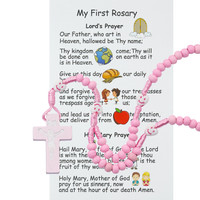 (P564RC) KID'S PINK WOOD ROSARY WITH