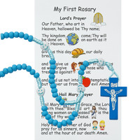 (P565RC) KID'S BLUE WOOD ROSARY WITH