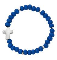 (B1006C) BABY BLUE WOOD STRETCH BRACELE