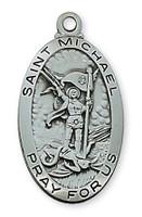 """(AN550MK) ANTIQUE SIL ST MICHAEL 24""""CH&B"""
