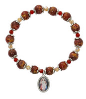 (B1010C) RED DIVINE MERCY  STRETCH BRAC