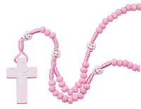 (P564R) KID'S PINK WOOD ROSARY WITH