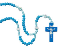 (P565R) KID'S BLUE WOOD ROSARY WITH