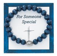 (B1027C) BLUE WOOD ST. MICHAEL BRACELET