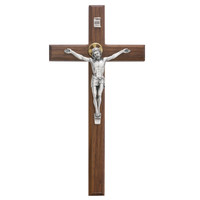"(80-154) 12"" WALNUT BEVELED CRUCIFIX"