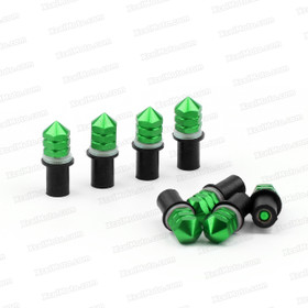 The Windscreen Spike Bolts comes with aluminum bolts, nylon washers, well nuts and each of them contains 8 pieces. A Well nut Kit consists of flange neoprene bushings with a captive brass nut and spike head screws. This Fastener Kits are designed to provide a vibration resistant attachment to the fairing.