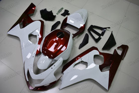 2004 2005 Suzuki GSXR600/750 white and red fairings and body kits, Suzuki GSXR600/750 OEM replacement fairings and bodywork.