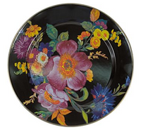 MacKenzie-Childs Flower Market Black Charger