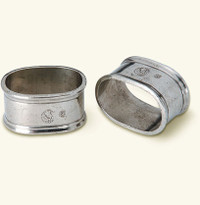 Nelson - Match Pewter Oval Napkin Ring - Set of 2