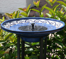 Mosaic Ceramic Solar Birdbath & Metal Stand