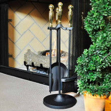 4-Piece Black & Brass Mini Fireset