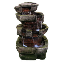 "24"" Tiered Stone Waterfall w/ LED Lights"