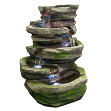 Lighted Cobblestone Fountain w/LED Lights
