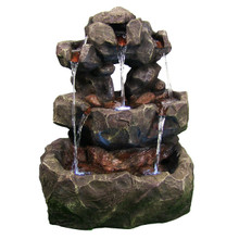Layered Rock Waterfall Outdoor Fountain w/ LED Lights