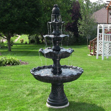 4-Tier Grand Courtyard Fountain - Black