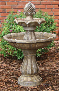 Two Tier Solar On Demand Fountain - Earth Tone