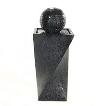 Contemporary Solar On Demand Black Ball Fountain