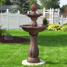 "46"" 2-Tier Pineapple Solar On Demand Fountain - Rust"