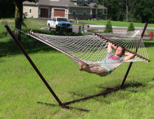 Cotton Double Wide Rope Hammock with Wood Spreaders and Stand Combo