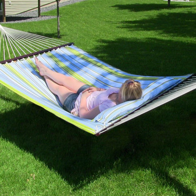 Quilted Double Fabric Hammock w/ Spreader Bar & Pillow