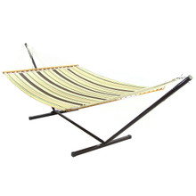 Brown/Tan Double Fabric Hammock w/ Spreader Bar & Stand