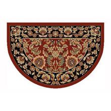46x31 Half Round Kashan Hearth Rug - Red/Black