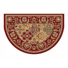 46x31 Half Round Kashan Hearth Rug - Red