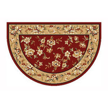 46x31 Half Round Floral Hearth Rug - Red/Beige