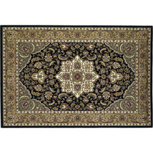 59x39 Rectangle Kashan Hearth Rug - Black/Beige