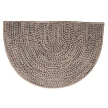 46x31 Half Round Tweed Braidmate Hearth Rug - Taupe