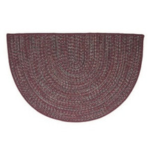 46x31 Half Round Tweed Braidmate Hearth Rug - Burgundy