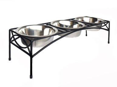 Regal Triple-Bowl Raised Dog Feeder