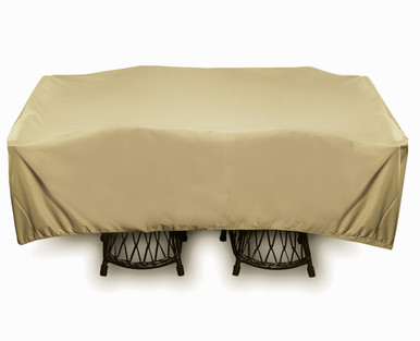 """Two Dogs 96"""" Square Table Set Cover - Khaki"""
