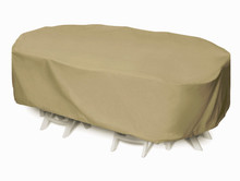 "Two Dogs 92"" Oval/Rectangle Table Set Cover - Khaki"